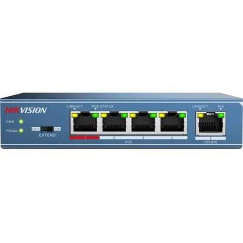Hikvision DS-3E0105P-E 5 Ports Ethernet Switch - 4 Network, 1 Uplink - Twisted Pair - 2 Layer Supported