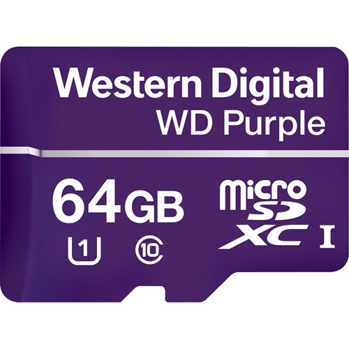 WD Purple WDD064G1P0A 64 GB microSDXC - Class 10/UHS-I (U1) - 80 MB/s Read - 50 MB/s Write - Retail